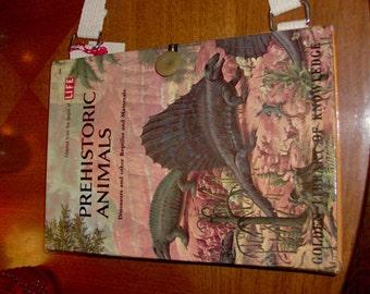 Prehistoric Purse vintage children's child dinosaur golden book handmade