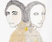 gemini, twins, art giclee print, Dualism I,  5 x 7