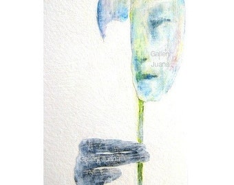 face, hand, male portrait, giclee print, surreal