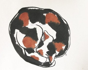 Cat Painting Ink, Watercolor on Rice Paper, Calico, Tortoise shell