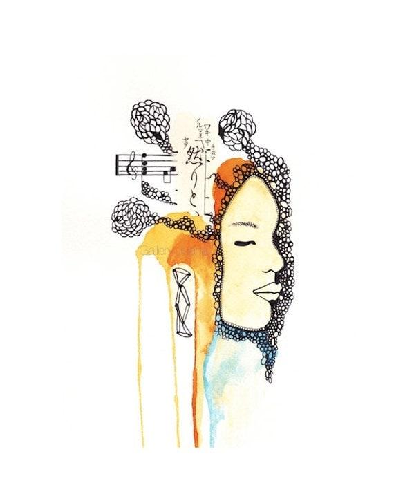 female portrait, giclee print, 4 x 6 on 6 x 8 paper