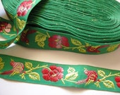 Embroidered Birds on Roses - Pink and green on green