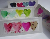 4 hand painted heart cards