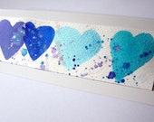 PIF hand painted blue heart card