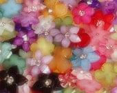 20pcs Glittered Flower w / Rhinestone Cabochons Mix