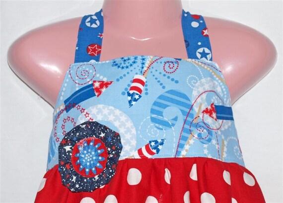 SALE - Boutique Girls Dress - POLKADOT FIRECRACKERS Y-back Dress - Size: 5T