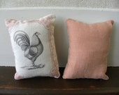 Lavender Sachet recycled linen and printed muslin Chanticleer Rooster chicken set of 2