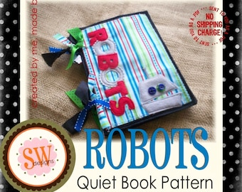 PATTERN for Robots Quiet Book - digital .PDF download