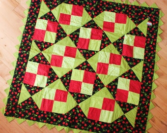 Sweet Cherries -- pink, red, green, baby/toddler quilt