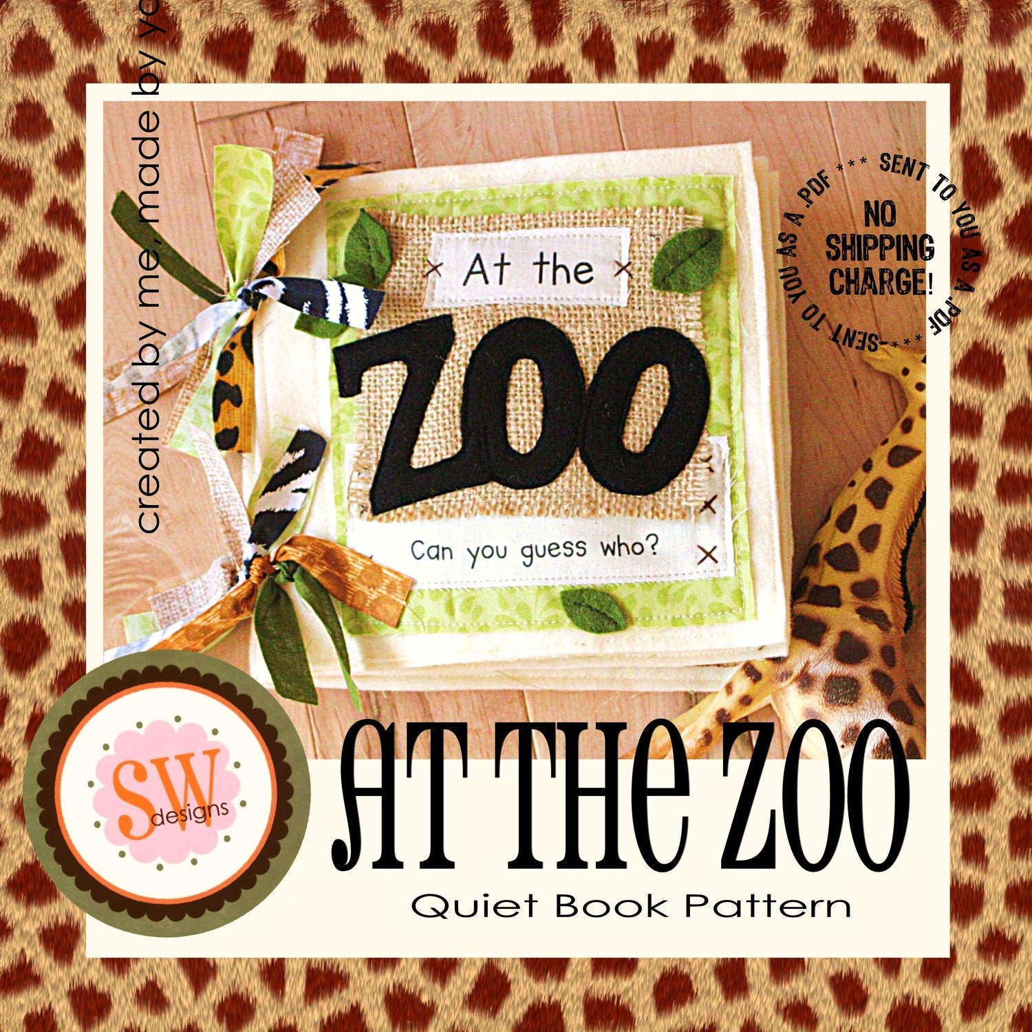 Pattern For At The Zoo Plush Quiet Book Digital Pdf File