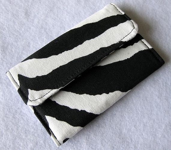 Mini Pocket Wallet  Black and White Zebra Print