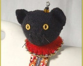 Little Black Kitten Wrist Pincushion- black  and gold and tomato red felted wool sweaters
