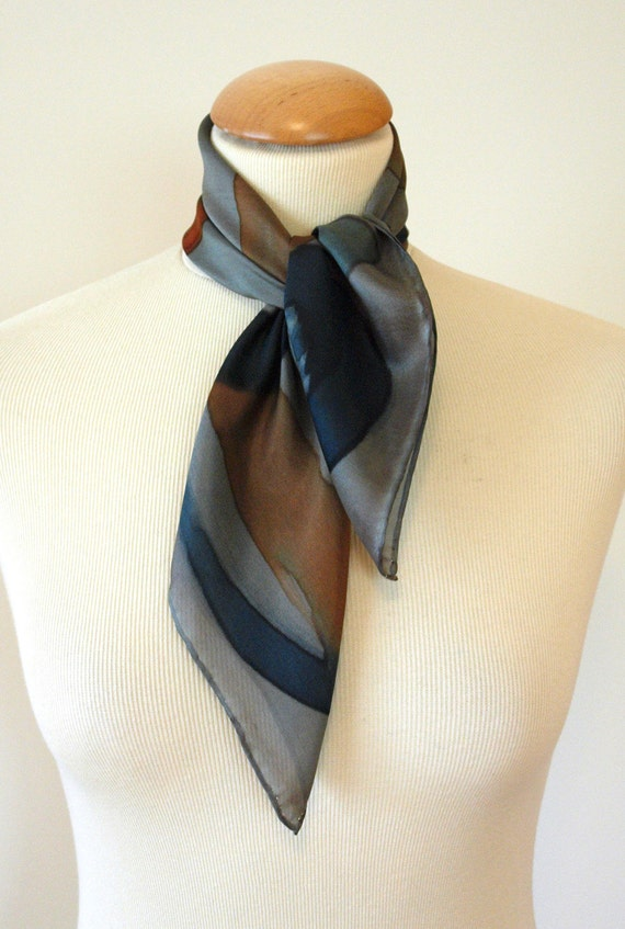 Silk Mini-scarf Blue-Brown-Grey-Abstract
