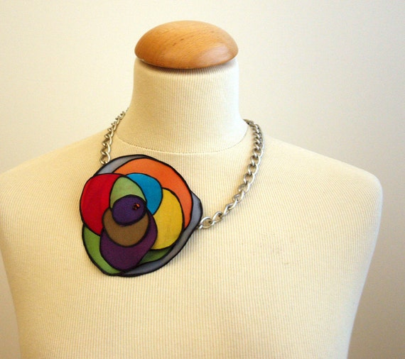 Christmas SALE 25% OFF !! Was 25, now 18.75 USD.Silk Necklace.Necklace light. Silk handpainted necklace.Brithday gift.
