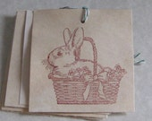 6  Easter Bunny in Basket Gift Tags