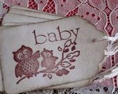 6  Gift Tags Baby Owls