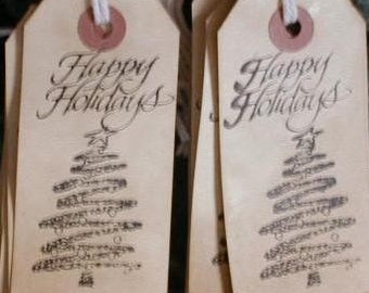 Vintage Looking Gift Tags with Happy Holidays and tree