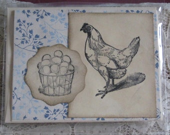 Handmade Old Fashioned Greeting Card Note Card with Chicken and Eggs