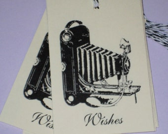 Antique Camera wishes gift Tags