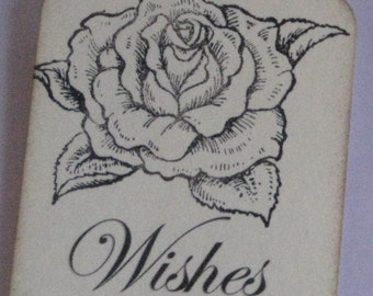 25 Wishes Gift Tags with Beautiful Rose  Made to Order Weddings Showers Birthdays