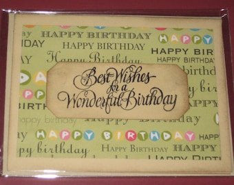 Best Wishes for a Wonderful Birthday Greeting Card Handmade