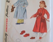 1940s Vintage Pattern - Childs Robe and Slippers - Size 5