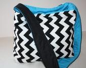 Diaper Bag Book Purse Tote Shoulder Bag Handbag  Hobo MARKET BAG lots of pkts Blue Black Chevron Stripe / Messenger strap XcessRize Designs