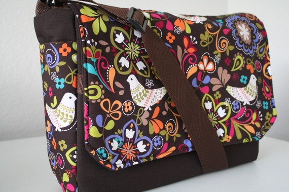 MESSENGER BAG Laptop Bag Diaper Bag Book Tote Purse  Womens laptop carrier case Bag Birds of Norway XcessRize Designs