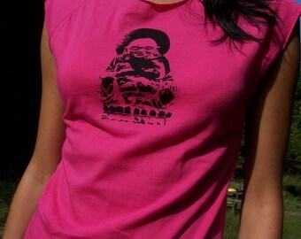 Happy Buddha Tee - womens tshirt, buddha tshirt, silkscreen tshirt, buddhist art, buddhist clothing, yoga t shirt