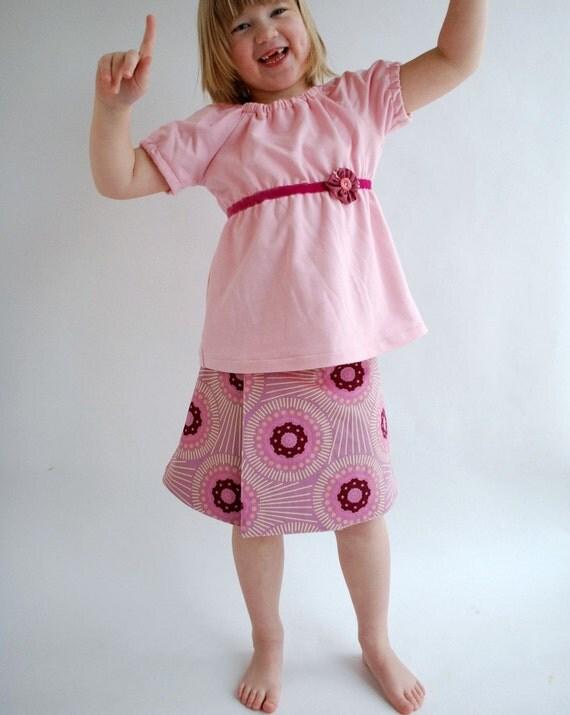 Lilac Starburst Reversible Wrap Skirt, sizes 3/4 ONLY