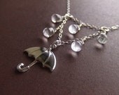 Rainy Day Umbrella Jewelry Necklace - Sterling Silver / Brass Jewelry - Water - Gift for Her - Singing in the Rain - Birthday Gift - Wife