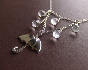 Rainy Day Umbrella Jewelry Necklace - Sterling Silver / Brass Jewelry - Water - Gift for Her - Singing in the Rain - Valentines Day Gift