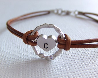 Eternity of the Heart Jewelry Bracelet - Custom Personalized Initial - Silver Heart Charm - Twig Branch Circle Ring - Gift for Her
