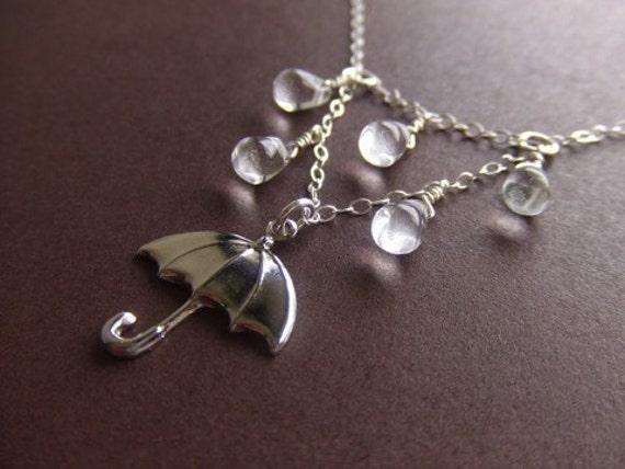 Rainy Day Umbrella Jewelry Necklace - Sterling Silver / Brass Jewelry