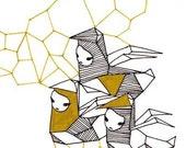 Origami Little Birdie postcard