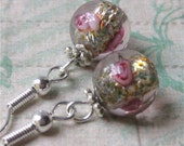 Earrings pale pink silver-lined round czech glass beads with rose