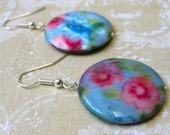 Pink flowers on blue round shell earrings - country garden HALF PRICE enter code CLOSINGDOWN at checkout