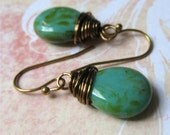 Turquoise czech glass tear drop earrings