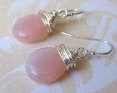 Pink czech glass tear drop earrings - pale milky pink