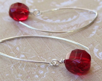 Earrings Czech glass beads sterling silver wires Berry Red