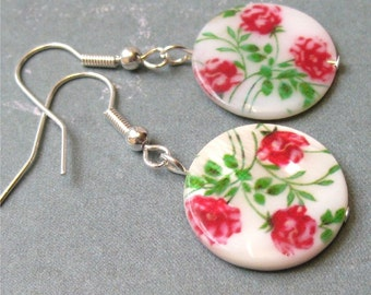 Earrings red roses on round shell. HALF PRICE SALE. Take 50% off.