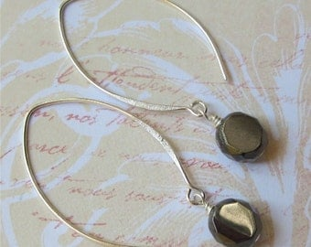 Half listed price. Earrings dark grey czech with sterling silver earwires