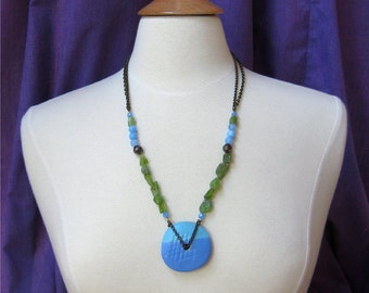 Blue and green necklace peridot and ceramic pendant. HALF PRICE SALE. Take 50% off.
