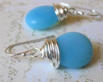 Earrings milky aqua czech glass drop wire wrapped