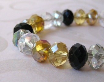 Bracelet gold, amber, black and clear glass faceted crystals