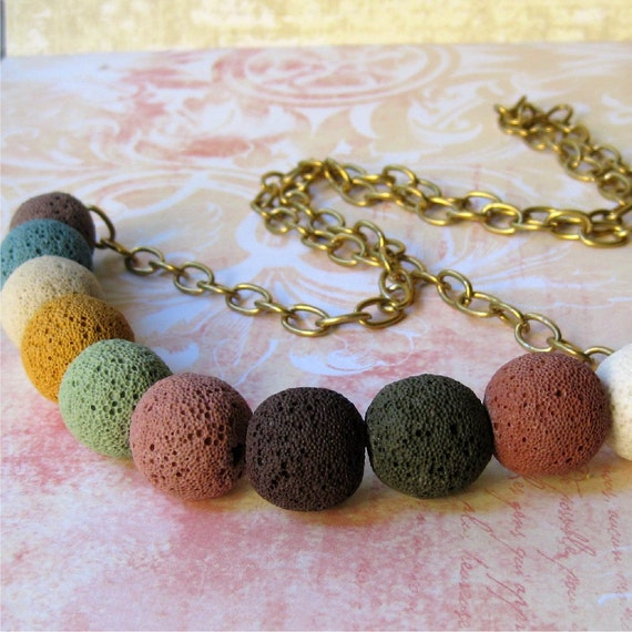 Necklace long lava stone colorful beads with chain