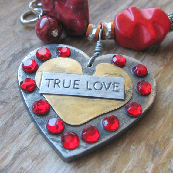 True Love Red Chunky Beaded Necklace with Heart Pendant SALE