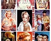 ACEO ATC Backgrounds Lana Turner Hollywood Movie Star Set of Nine  Digital Designs Collage Sheet Vintage For Card Making