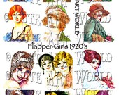 Digital Collage Sheet 2x2 and larger inches block square Flapper Girls 1920 Altered Art Card Glass Hang Tags Jewelry Making
