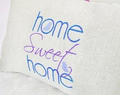 Home Sweet Home Pillow Cover 12x18 in purples